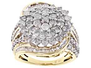 White Diamond 10k Yellow Gold Cluster Ring 3.00ctw