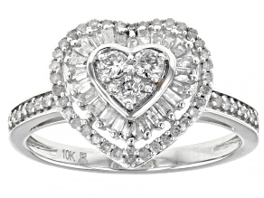 White Diamond 10k White Gold Heart Cluster Ring 0.50ctw