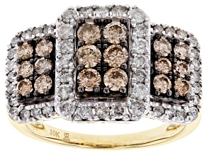 Champagne And White Diamond 10k Yellow Gold Cluster Ring 1.50ctw