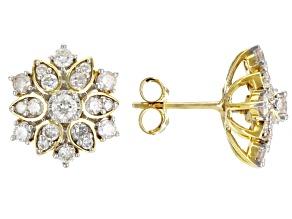 White Diamond 10k Yellow Gold Stud Earrings 1.00ctw