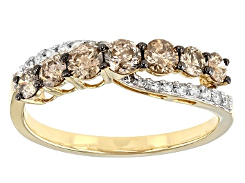 Picture of Champagne and White Diamond 10k Yellow Gold Crossover Ring 0.85ctw