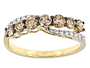 Champagne and White Diamond 10k Yellow Gold Crossover Ring 0.85ctw