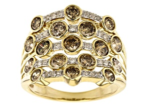 Champagne And White Diamond 10k Yellow Gold Multi-Row Ring 2.10ctw