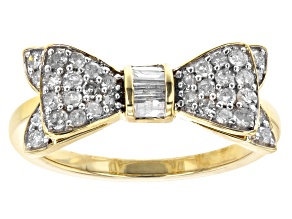 White Diamond 10k Yellow Gold Cluster Bow Ring 0.50ctw