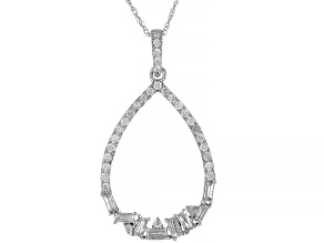 "White Diamond 10k White Gold Pendant With 18"" Rope Chain 0.50ctw"