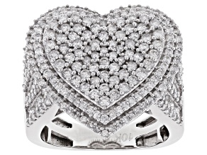 White Diamond 10k White Gold Cluster Heart Ring 2.00ctw
