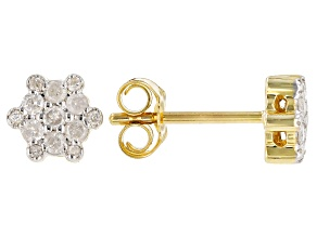 White Diamond 10k Yellow Gold Cluster Stud Earrings 0.25ctw