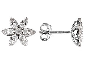 White Diamond 10k White Gold Cluster Earrings 0.30ctw