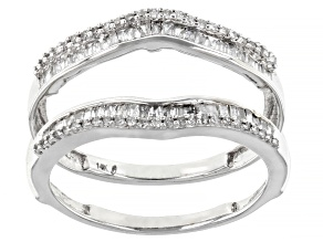 White Diamond 14k White Gold Ring Guard 0.50ctw