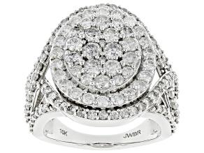 White Diamond 10k White Gold Cluster Statement Ring 3.00ctw