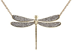 White Diamond 10k Yellow Gold Dragonfly Drop Necklace 0.33ctw