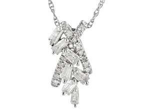"White Diamond 10k White Gold Cluster Pendant With 18"" Rope Chain 0.25ctw"