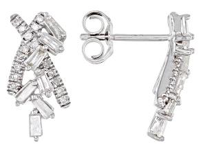White Diamond 10K White Gold Cluster Earrings 0.50ctw
