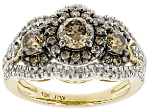 Champagne And White Diamond 10k Yellow Gold 3-Stone Ring 1.50ctw