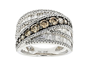 White And Champagne Diamond 10k White Gold Crossover Wide Band Ring 2.00ctw