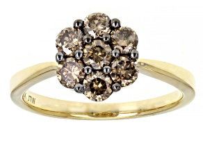 Champagne Diamond 10k Yellow Gold Flower Cluster Ring 0.63ctw