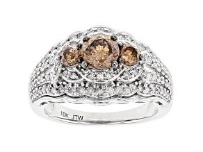 Champagne And White Diamond 10k White Gold 3-Stone Ring 1.50ctw