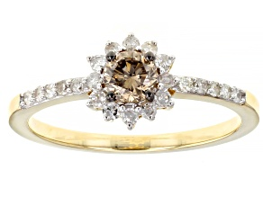 Champagne And White Diamond 10k Yellow Gold Halo Ring 0.55ctw