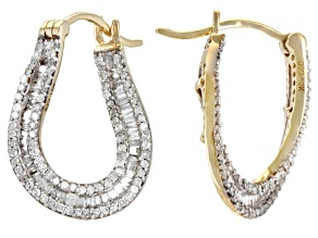 White Diamond 10k Yellow Gold Inside-Out Earrings 0.95ctw