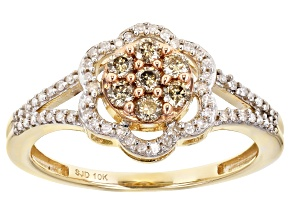 Champagne And White Diamond 10k Yellow Gold Cluster Flower Ring 0.45ctw