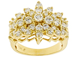 Light Yellow Diamond 10k Yellow Gold Multi-Row Cluster Ring 2.00ctw