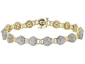 White Diamond 10k Yellow Gold Tennis Bracelet 3.00ctw