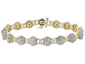 White Diamond 10k Yellow Gold Tennis Bracelet 3.00ctw