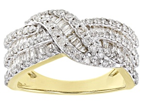 White Diamond 10k Yellow Gold Crossover Band Ring 1.25ctw