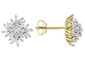 White Diamond 10k Yellow Gold Cluster Stud Earrings 0.50ctw