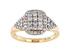 White Diamond 3k Gold Cluster Ring 0.75ctw