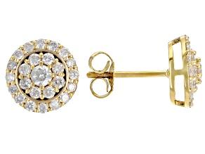 White Diamond 3k Gold Cluster Stud Earrings 0.75ctw