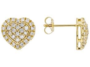 White Diamond 3k Gold Heart Cluster Stud Earrings 0.65ctw