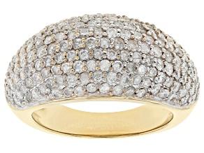 White Diamond 3k Gold Wide Band Ring 1.50ctw