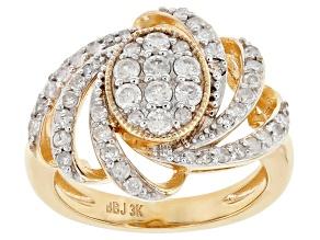 White Diamond 3k Gold Cluster Ring 0.70ctw