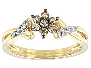 Champagne And White Diamond 10k Yellow Gold Cluster Ring 0.25ctw