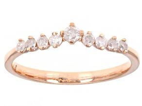 White Diamond 10k Rose Gold Chevron Band Ring 0.25ctw