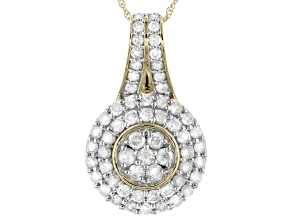 "White Diamond 10k Yellow Gold Cluster Pendant With 18"" Rope Chain 1.00ctw"