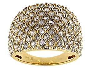 White Diamond 10k Yellow Gold Wide Band Ring 2.00ctw