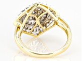 White Diamond 10k Yellow Gold Cluster Ring 1.00ctw