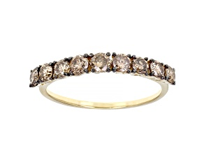 Champagne Diamond 10k Yellow Gold Band Ring 0.85ctw