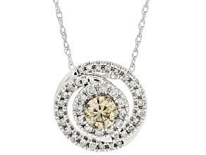"""Champagne And White Diamond 10k White Gold Slide Pendant With 18"""" Rope Chain 0.50ctw"""