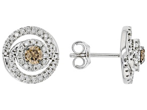 Champagne And White Diamond 10k White Gold Stud Earrings 0.75ctw