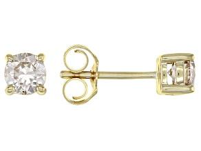 Diamond 10k Yellow Gold Stud Earrings 0.50ctw