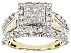 White Diamond 10k Yellow Gold Quad Ring 2.00ctw