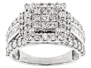 White Diamond 10k White Gold Quad Ring 2.00ctw