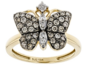 Champagne And White Diamond 10k Yellow Gold Butterfly Ring 0.40ctw