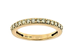 Natural Yellow Diamond 10k Yellow Gold Band Ring 0.25ctw