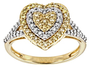 Natural Yellow And White Diamond 10k Yellow Gold Heart Cluster Ring 0.50ctw