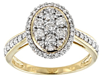 Picture of White Diamond 10k Yellow Gold Oval Cluster Ring 0.70ctw