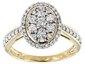 White Diamond 10k Yellow Gold Oval Cluster Ring 0.70ctw